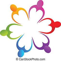 trabalho equipe, de, coloridos, corações, logotipo