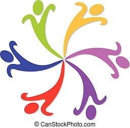trabalho equipe, de, feliz, coloridos, pessoas, vetorial, logotipo