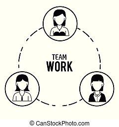 trabalho equipe, desenho, ícones