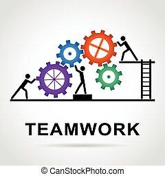 trabalho equipe, desenho, com, coloridos, rodas