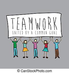trabalho equipe, desenho