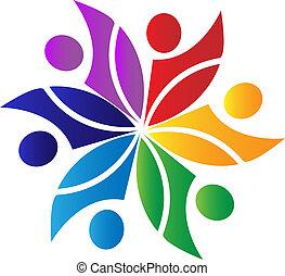 trabalho equipe, diversidade, logotipo