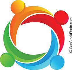 trabalho equipe, diverso, logotipo