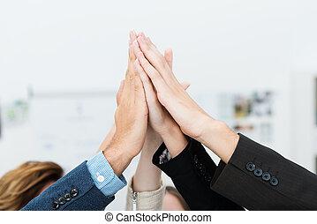 trabalho equipe, e, cooperação