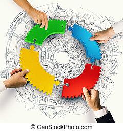trabalho equipe, e, integração, conceito, com, confunda pedaços, de, engrenagem, 3d, fazendo