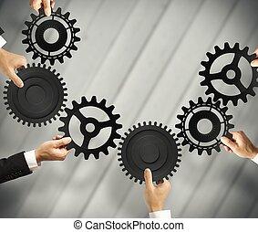 trabalho equipe, e, integração, conceito