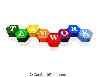 trabalho equipe, em, cor, hexahedrons