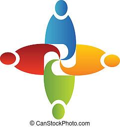 trabalho equipe, em, negócio, logotipo, vetorial