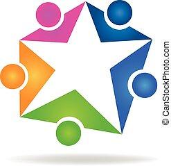 trabalho equipe, estrela, logotipo