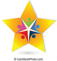 trabalho equipe, estrela, pessoas, logotipo, vetorial