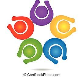trabalho equipe, feliz, pessoas, logotipo, desenho, modelo, ícone, vetorial