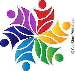 trabalho equipe, flor, logotipo