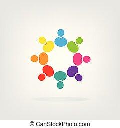 trabalho equipe, grupo pessoas, logotipo