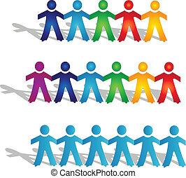 trabalho equipe, grupos pessoas, logotipo