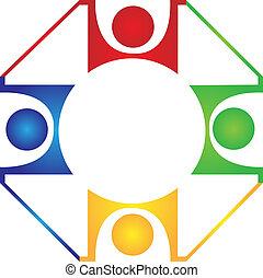 trabalho equipe, harmonia, desenho, logotipo