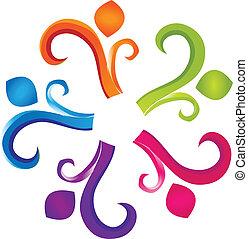 trabalho equipe, humanidade, logotipo