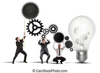 trabalho equipe, idéia, powering