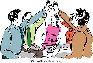 trabalho equipe, ilustração negócio, pessoas