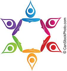 trabalho equipe, ioga, pessoas, logotipo, vetorial