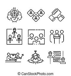 trabalho equipe, jogo, ícone