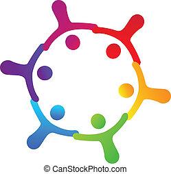 trabalho equipe, levando, mãos, logotipo
