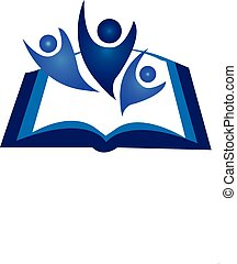 trabalho equipe, livro, logotipo