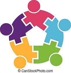 trabalho equipe, logotipo, círculo, 5, entrelaçado