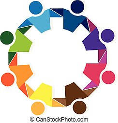 trabalho equipe, logotipo