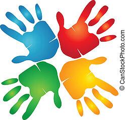trabalho equipe, mãos, ao redor, coloridos, logotipo