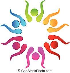 trabalho equipe, mãos cima, logotipo, vetorial