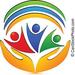 trabalho equipe, mãos, e, conexões, logotipo