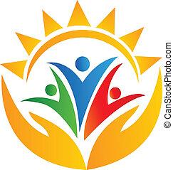 trabalho equipe, mãos, e, sol, logotipo