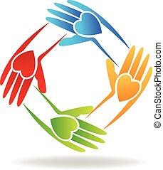 trabalho equipe, mãos, logotipo