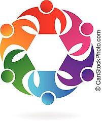 trabalho equipe, negócio, sucesso, pessoas, logotipo