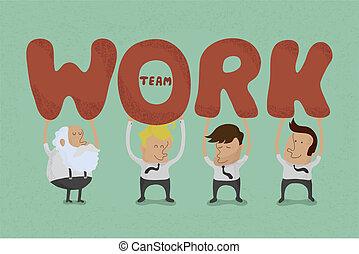 trabalho equipe, negócio