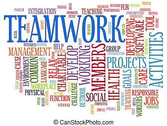 trabalho equipe, palavra, etiquetas