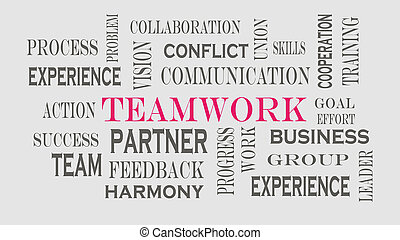 trabalho equipe, palavra, nuvem, conceito, ligado, cinzento, experiência.