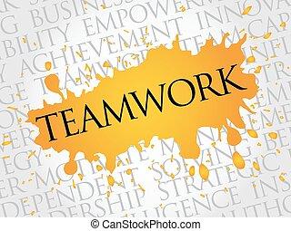 trabalho equipe, palavra, nuvem