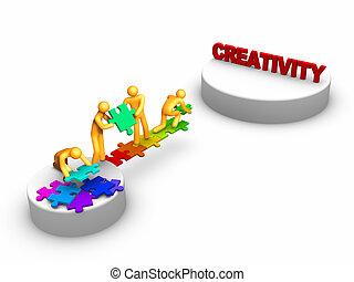 trabalho equipe, para, criatividade