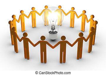 trabalho equipe, para, idéias