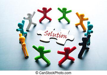 trabalho equipe, para, resolva, problema