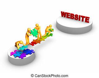 trabalho equipe, para, site web