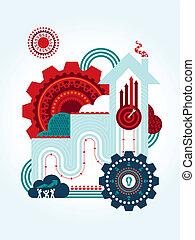 trabalho equipe, para, sucedido, conceito negócio, ilustração