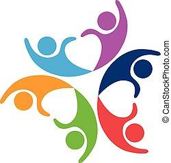 trabalho equipe, pares, logotipo