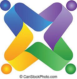 trabalho equipe, pessoas, coloridos, logotipo