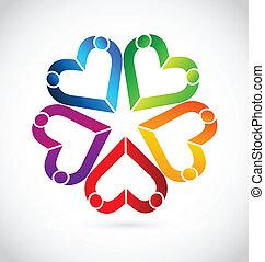 trabalho equipe, pessoas, corações, logotipo