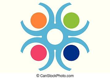 trabalho equipe, pessoas, logotipo