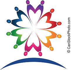 trabalho equipe, pessoas, logotipo, vetorial