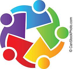 trabalho equipe, pessoas negócio, logotipo