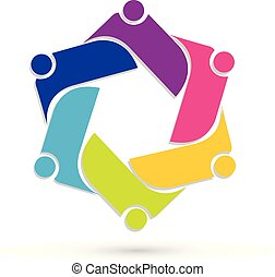 trabalho equipe, pessoas, vetorial, logotipo